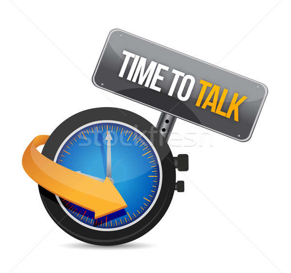 time to talk watch illustration design concept over white Stock photo © alexmillos