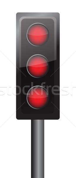 Stockfoto: Alle · lichten · Rood · illustratie · ontwerp · verkeersbord