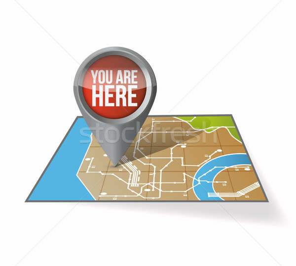 Your current location pointer illustration design over white Stock photo © alexmillos