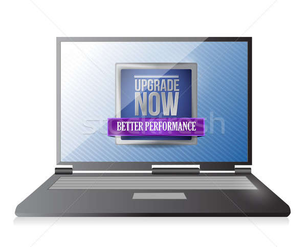 laptop with an upgrade now illustration design over white Stock photo © alexmillos