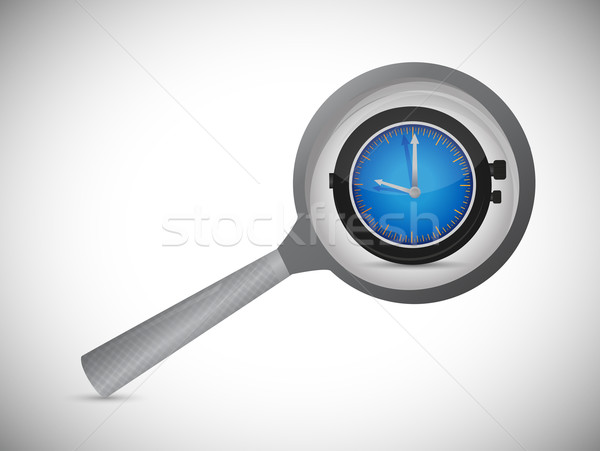 Magnifying optical glass with Alarm Clock icon. Illustration des Stock photo © alexmillos