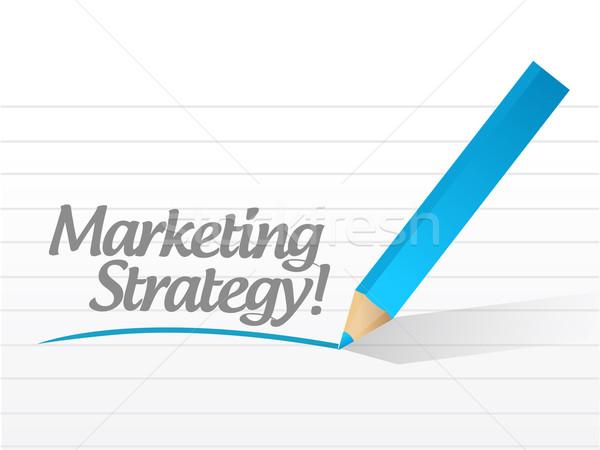 Stock photo: Marketing Strategy written on a white piece of paper. illustrati