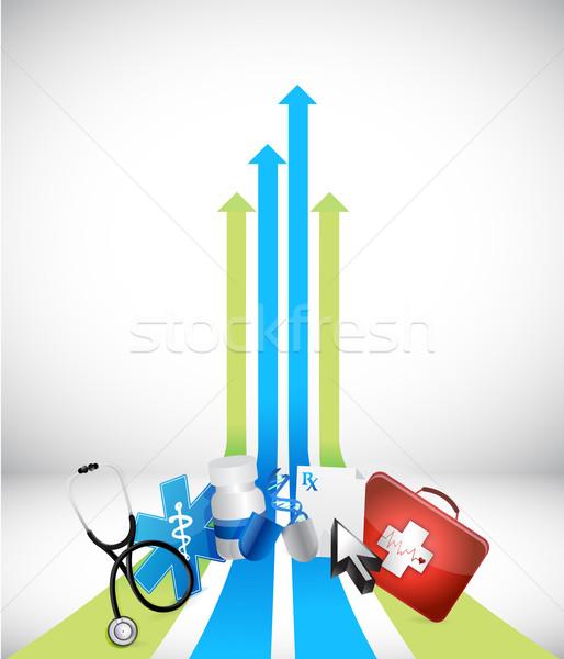 Leader flèche médicaux illustration design blanche Photo stock © alexmillos