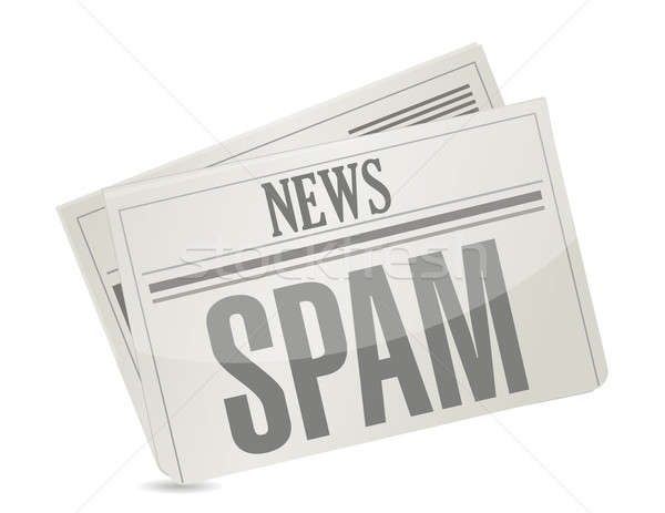spam news. newspaper illustration design over white Stock photo © alexmillos