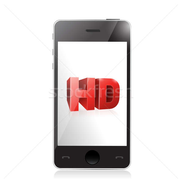 smartphone with a hd screen. illustration design over a white Stock photo © alexmillos