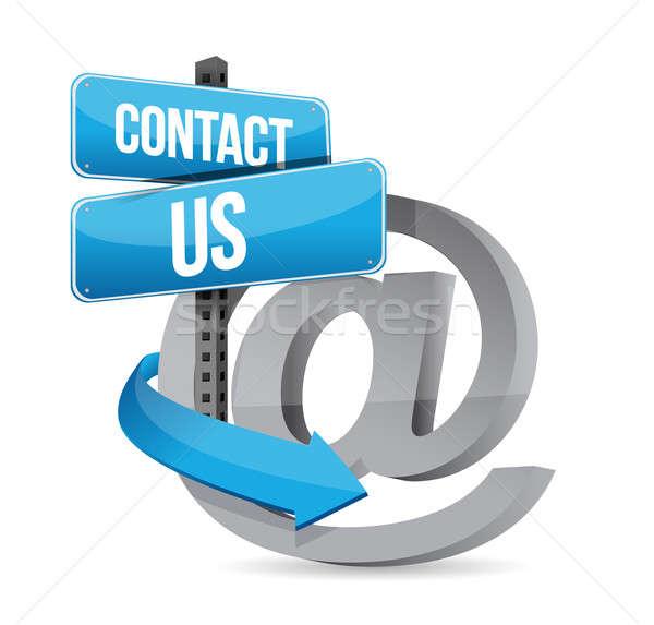 E mail contact us at sign Stock photo © alexmillos