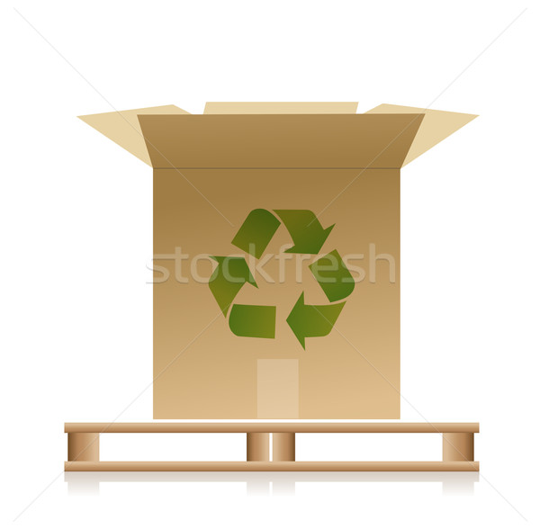 Wooden pallet with a recycle box illustration Stock photo © alexmillos