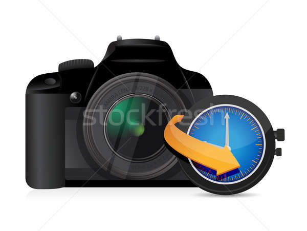 Camera timing horloge klok illustratie ontwerp Stockfoto © alexmillos