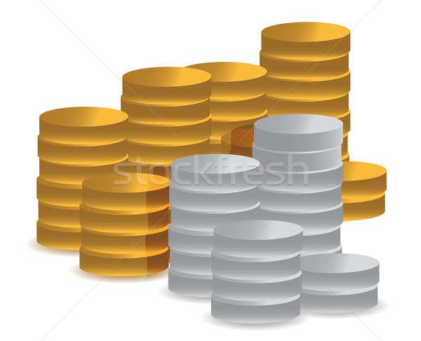 Foto stock: Ouro · prata · moedas · cor · numerário · estúdio