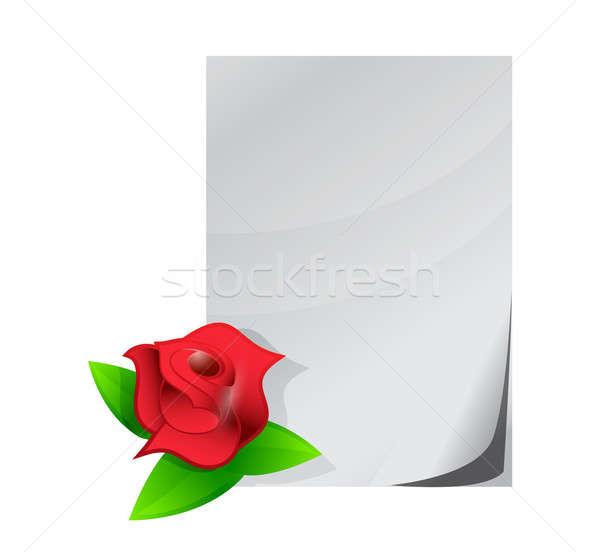 red rose love letter illustration design over a white background Stock photo © alexmillos
