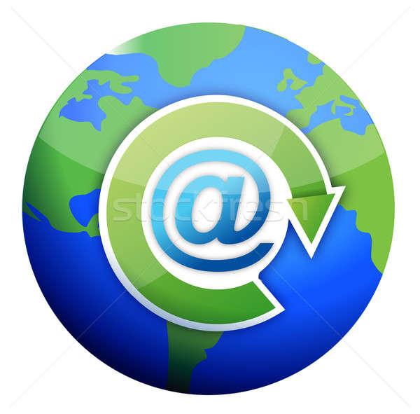 Photo stock: Mail · signe · monde · affaires · web · bleu
