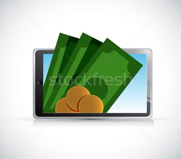 Tableta móviles pago aislado ilustración diseno Foto stock © alexmillos