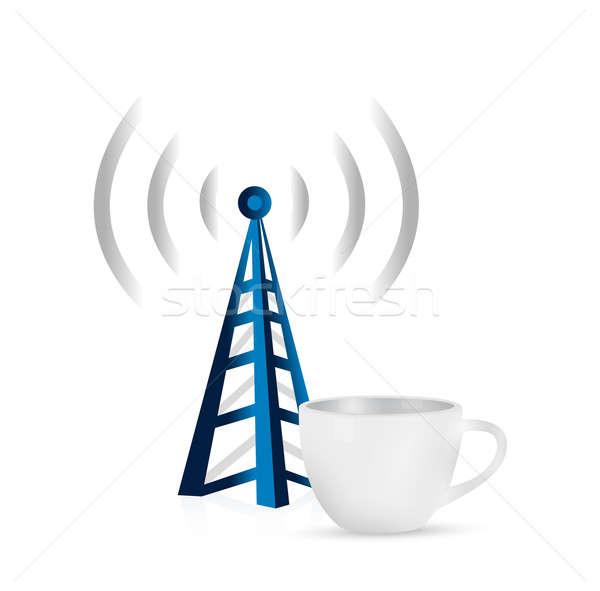 internet tower coffee mug concept illustration Stock photo © alexmillos