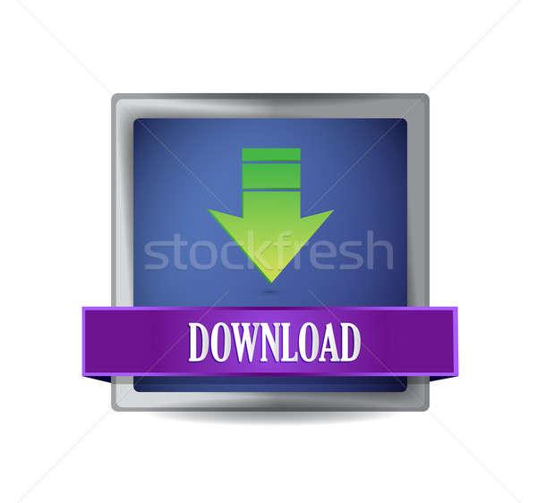 Icône de téléchargement bleu carré illustration design Photo stock © alexmillos