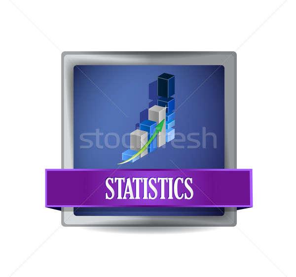Business statistiche blu pulsante illustrazione design Foto d'archivio © alexmillos