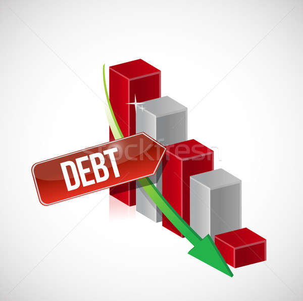 Growth bar graph of debt on white Stock photo © alexmillos