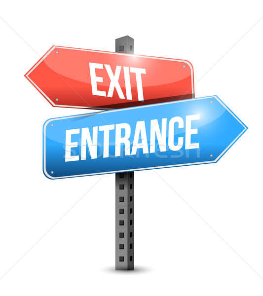 exit and entrance road sign illustration design Stock photo © alexmillos