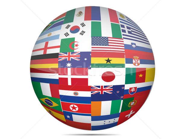 Zdjęcia stock: Flagi · świat · świecie · format · biały · ziemi