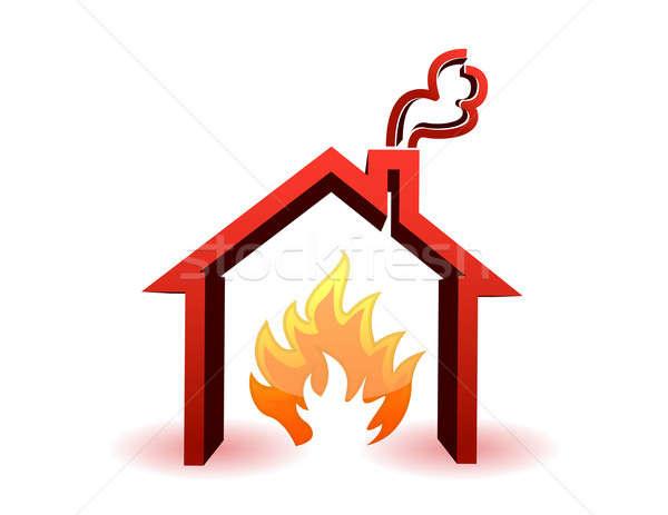 burning house illustration design isolated over a white backgrou Stock photo © alexmillos