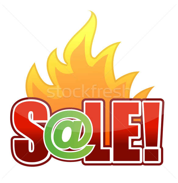 online Fire Sale text illustration design Stock photo © alexmillos