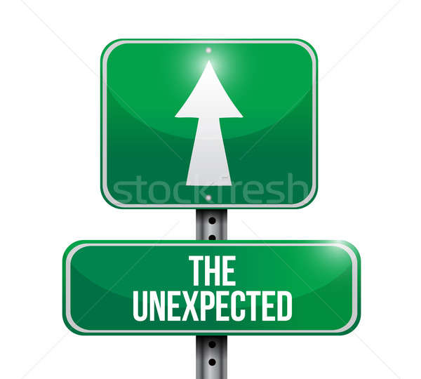 the unexpected road sign illustration design over a white backgr Stock photo © alexmillos