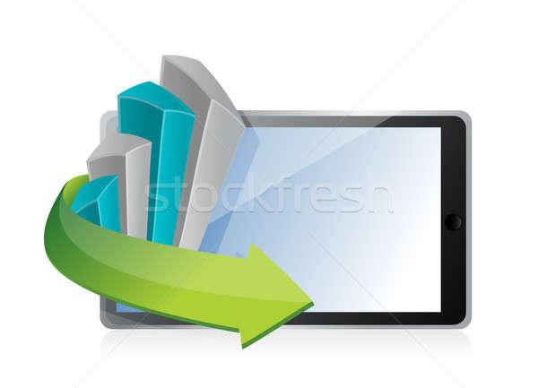 Gráfico de negocio tableta ilustración diseno blanco ordenador Foto stock © alexmillos