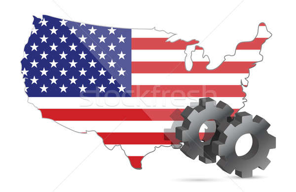 Us map flag and gears illustration design over white Stock photo © alexmillos