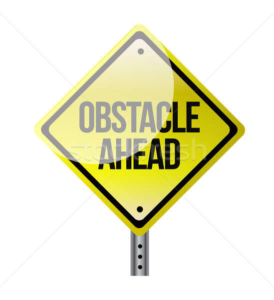 obstacle ahead yellow road sign illustration design over white Stock photo © alexmillos