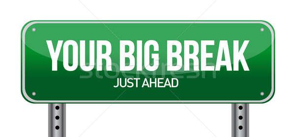 Big Break Green Road Sign illustration design over white Stock photo © alexmillos
