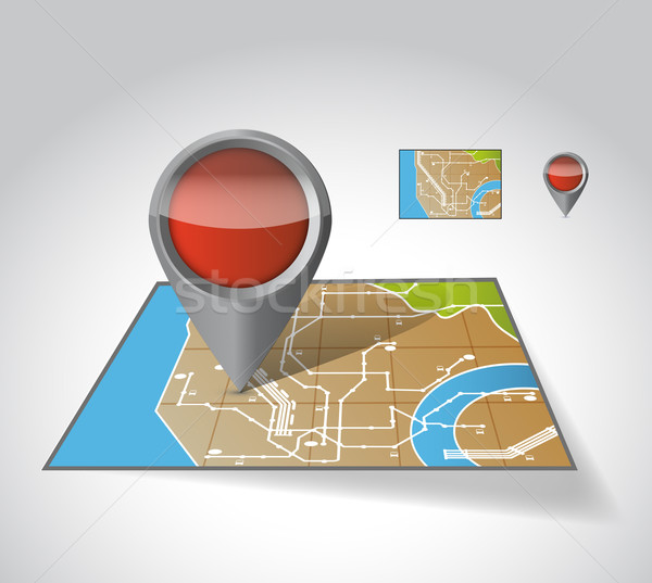 Stock photo: City Map With Marker, illustration design over white