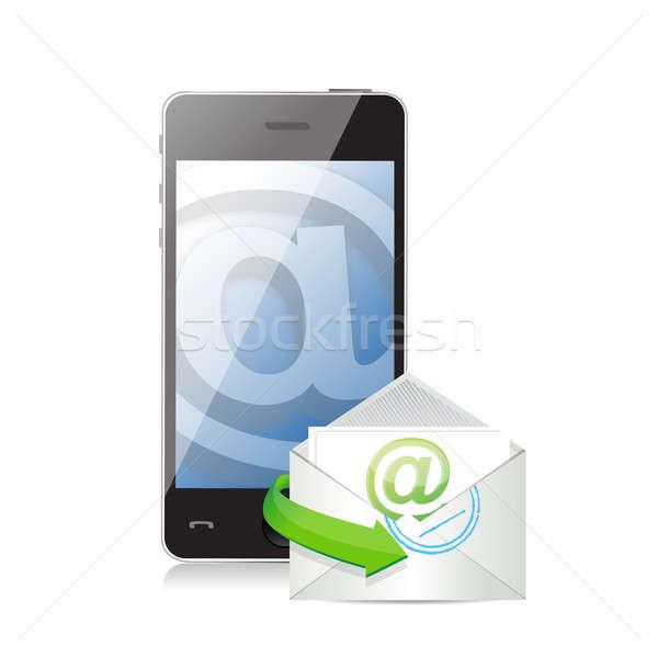 contact us online. communication concept illustration design ove Stock photo © alexmillos