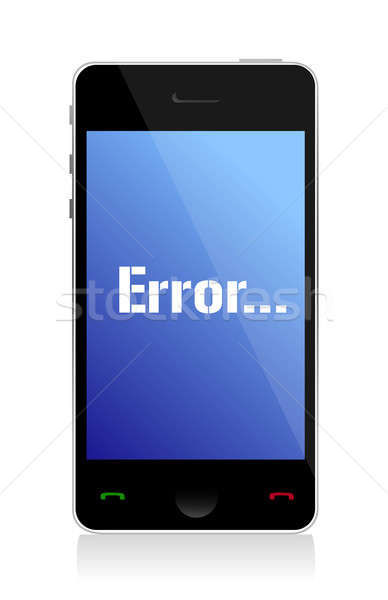 error message on phone illustration design over a white backgrou Stock photo © alexmillos