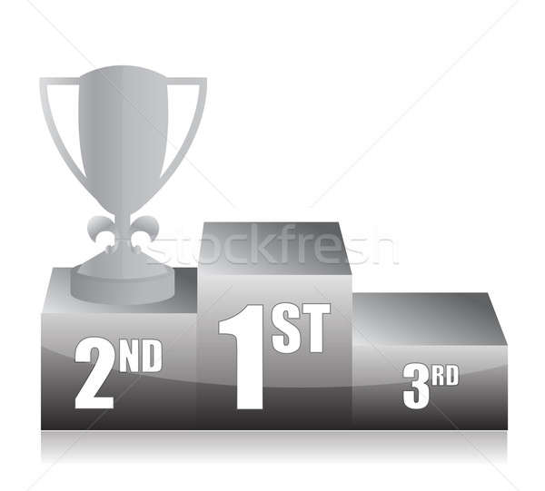 Stock photo: silver trophy cup 2nd place illustration design