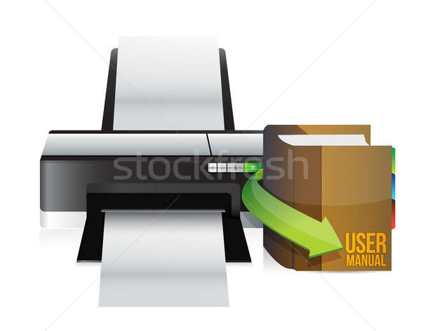 printer and user manual illustration design over a white backgro Stock photo © alexmillos