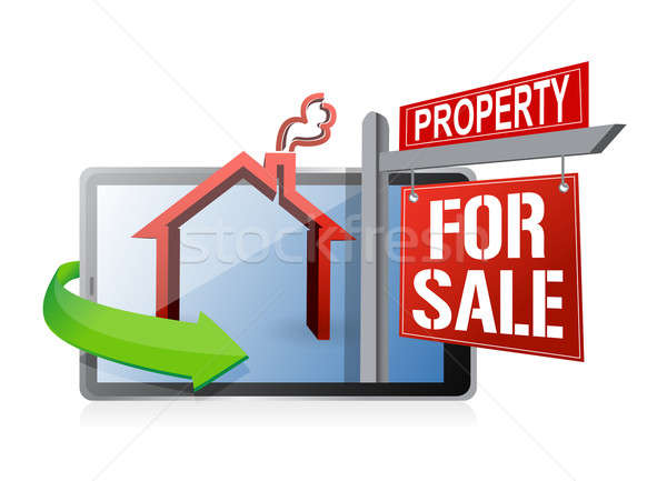 tablet real estate search and buy concept illustration design ov Stock photo © alexmillos