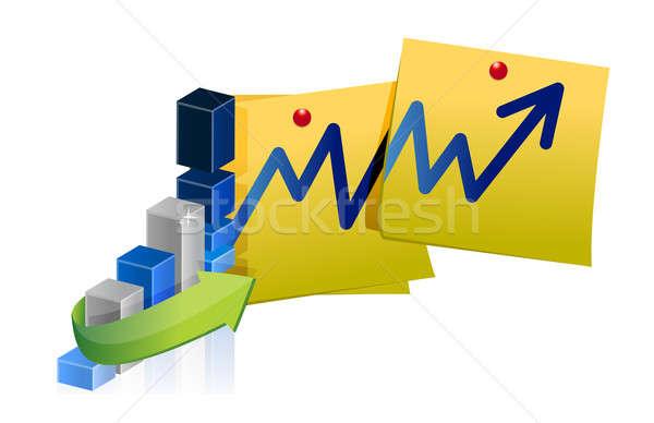 Blauw zakelijke grafiek post illustratie financieren corporate Stockfoto © alexmillos