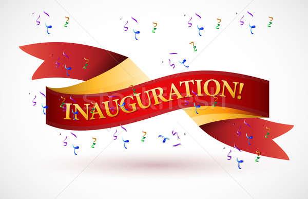 Inauguration red waving ribbon banner Stock photo © alexmillos