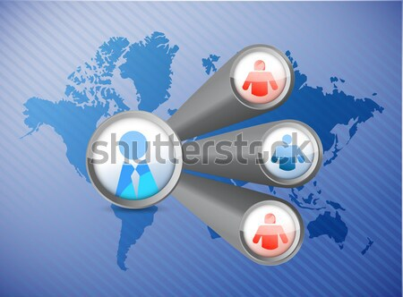 Business concept. Hand and contacts diagram  Stock photo © alexmillos