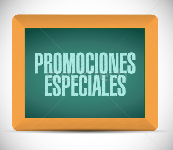 Stock photo: special promotions in Spanish chalkboard sign