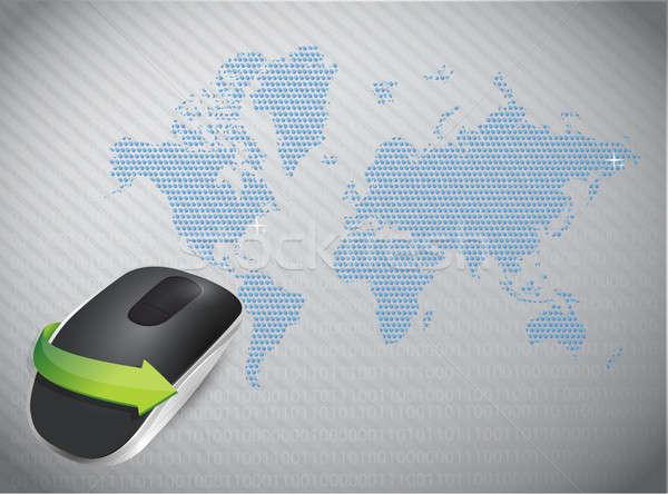Sans fil une souris d'ordinateur mondial isolé gris ordinateur Photo stock © alexmillos