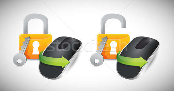 padlocks and Wireless computer mouse Stock photo © alexmillos