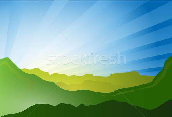 Groene Blauw landschap zomer illustratie ontwerp Stockfoto © alexmillos