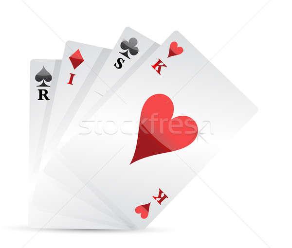 risk poker card hand illustration design Stock photo © alexmillos