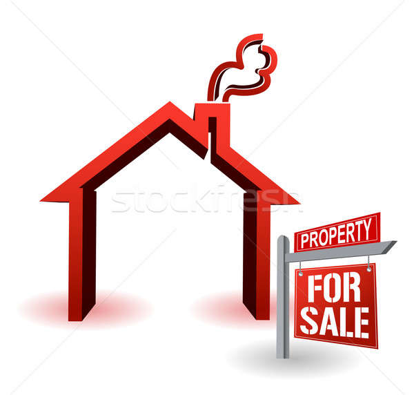 Model House and Home For Sale Real Estate Sign In Front on White Stock photo © alexmillos