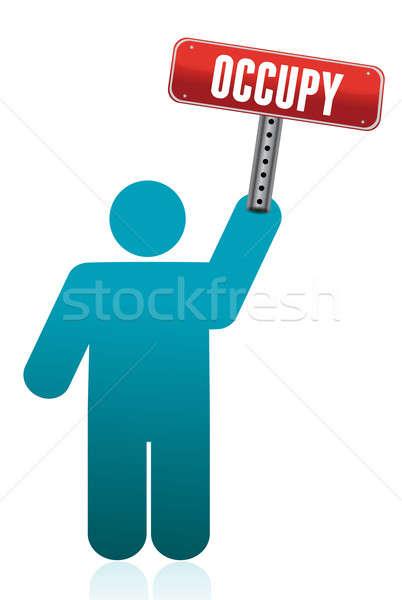 Icon holding a occupy sign illustration design Stock photo © alexmillos