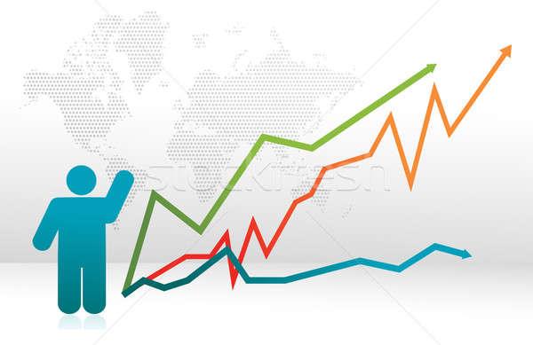Finance icon graph with arrows illustration Stock photo © alexmillos