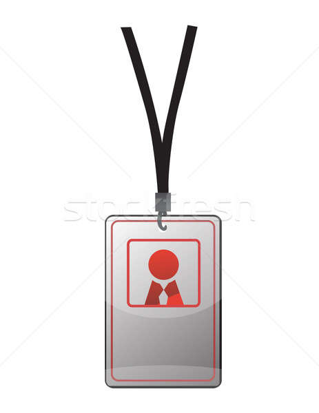 Security ID pass on a black lanyard. Isolated on white, ready fo Stock photo © alexmillos