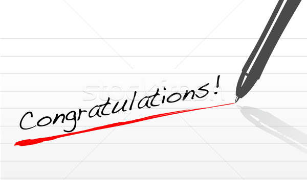 congratulations written on a notepad paper with pen Stock photo © alexmillos