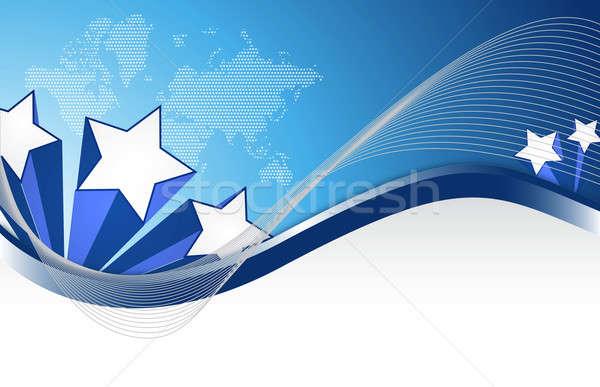 Stars patriotic illustration design with wave figures Stock photo © alexmillos