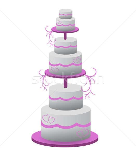 Wedding cake illustration design isolated over a white backgroun Stock photo © alexmillos